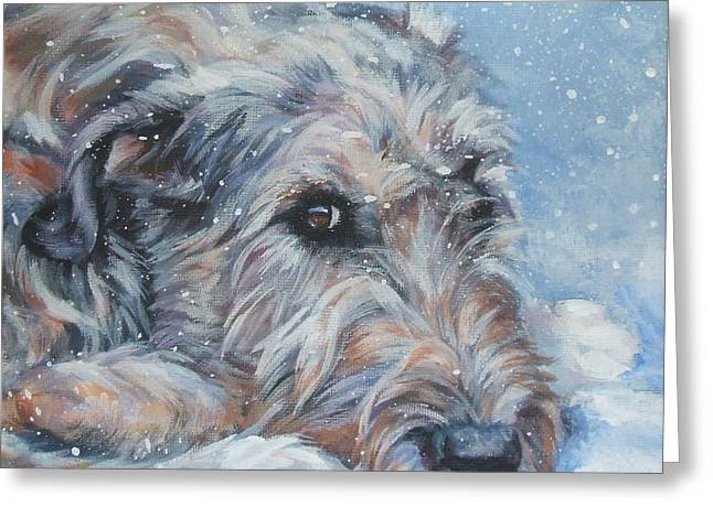 Irish Greeting Cards - Irish Wolfhound resting Greeting Card by Lee Ann Shepard