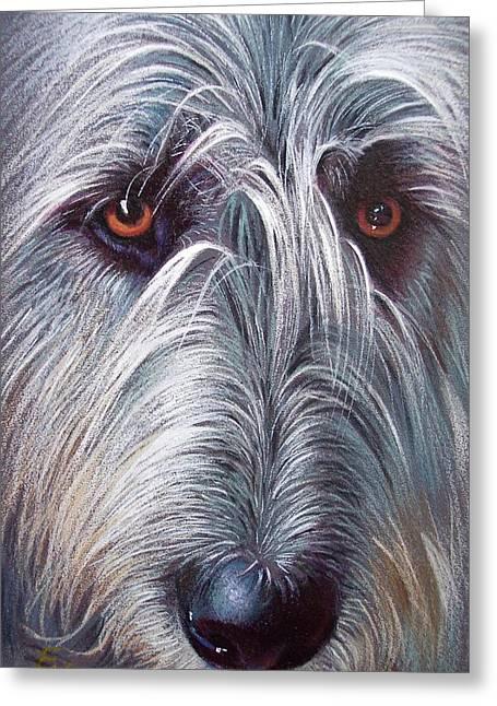 Elena Kolotusha Greeting Cards - Irish Wolfhound Greeting Card by Elena Kolotusha