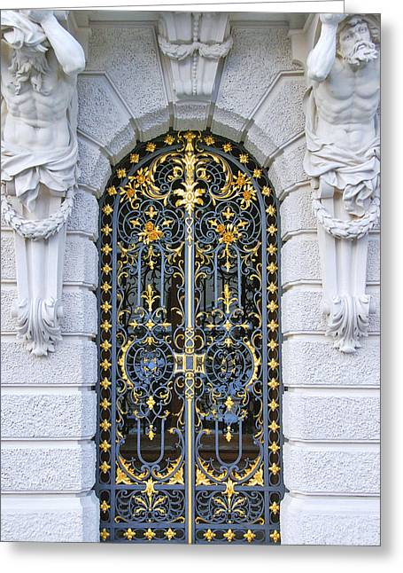 Wrought Iron Gate Greeting Cards - Iron and goldleaf Greeting Card by Anthony Citro