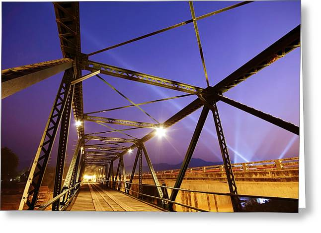 Twilight Views Greeting Cards - Iron Bridge  Greeting Card by Setsiri Silapasuwanchai