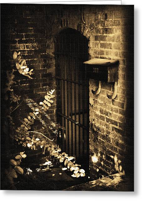 Basement Art Greeting Cards - Iron Door Sepia Greeting Card by Kelly Hazel