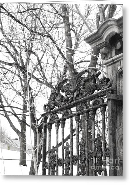 Montreal Winter Scenes Greeting Cards - Iron Gate Greeting Card by Reb Frost