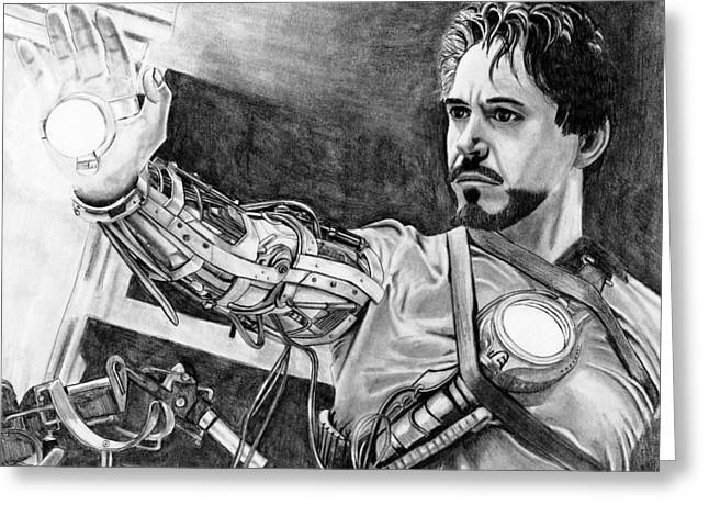 Iron Drawings Greeting Cards - Iron Man Greeting Card by Gil Fong