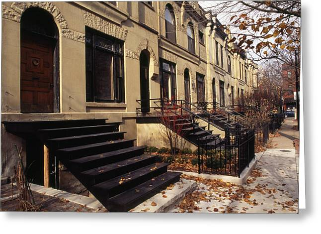Urban And Suburban Ways Of Life Greeting Cards - Iron Steps And Entrances In Row Houses Greeting Card by Paul Damien