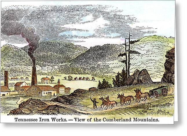 1850s Greeting Cards - Iron Works Greeting Card by Granger