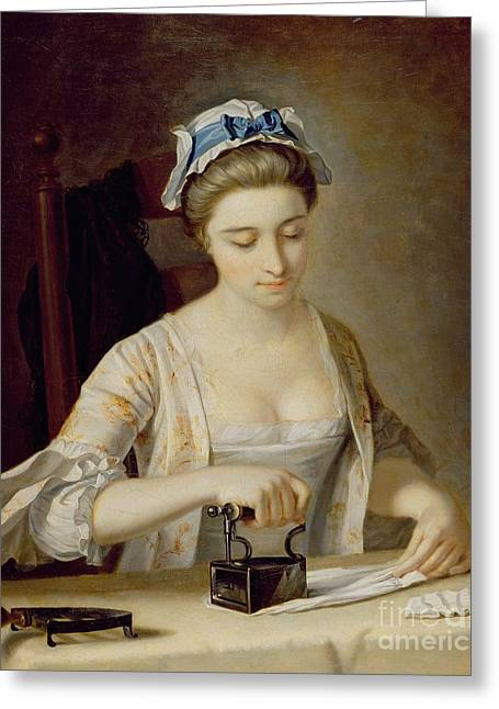 Canvas On Board Greeting Cards - Ironing Greeting Card by Henry Robert Morland