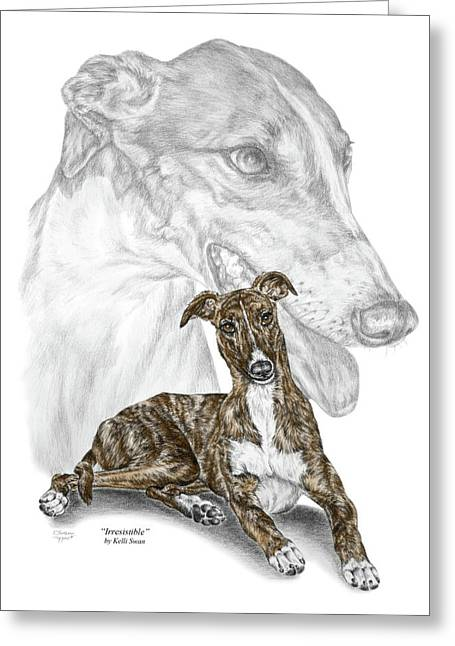 Rescued Greyhound Greeting Cards - Irresistible - Greyhound Dog Print color tinted Greeting Card by Kelli Swan