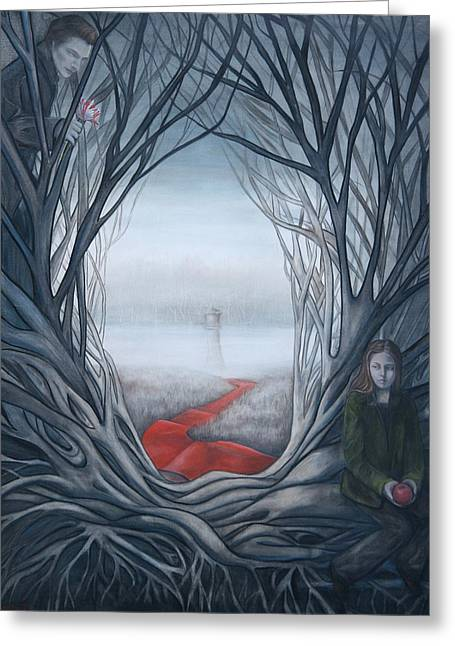 Swan Fantasy Art Greeting Cards - Irrevocable Twilight Greeting Card by Christine Louise Bryant