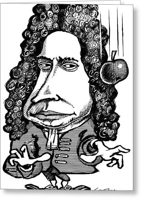 Isaac Newton Greeting Cards - Isaac Newton, Caricature Greeting Card by Gary Brown
