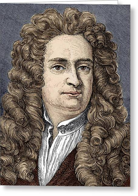 Isaac Newton Greeting Cards - Isaac Newton, English Physicist Greeting Card by Sheila Terry