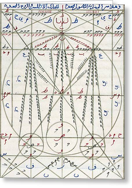Regard Greeting Cards - Islamic Alchemy Manuscript, 14th Century Greeting Card by Science Source
