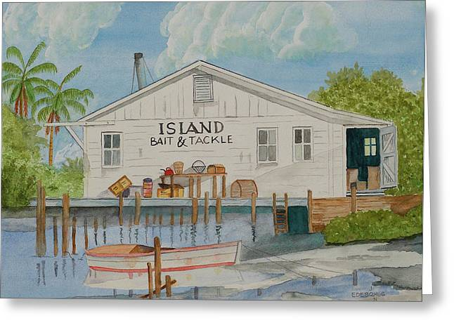 Tackle Drawings Greeting Cards - Island Bait and Tackle Greeting Card by John Edebohls