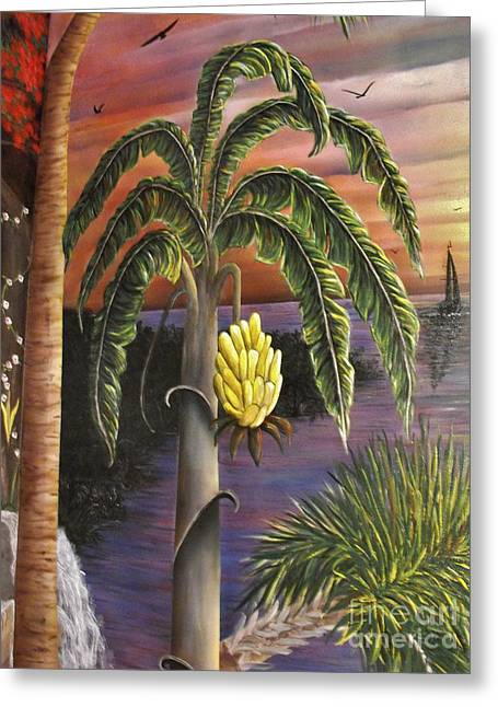 Yellow Sailboats Greeting Cards - Island Banana Tree Greeting Card by Sandy  Hurst