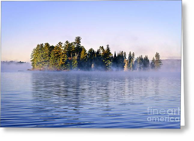 Peaceful Scenery Greeting Cards - Island in lake with morning fog Greeting Card by Elena Elisseeva