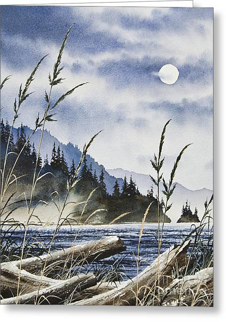 Landscape Framed Prints Greeting Cards - Island Moon Greeting Card by James Williamson