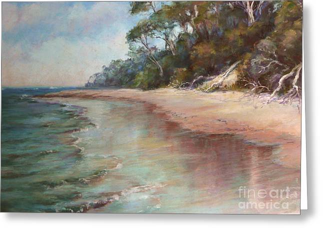 Shiny Pastels Greeting Cards - Island Sands Greeting Card by Pamela Pretty