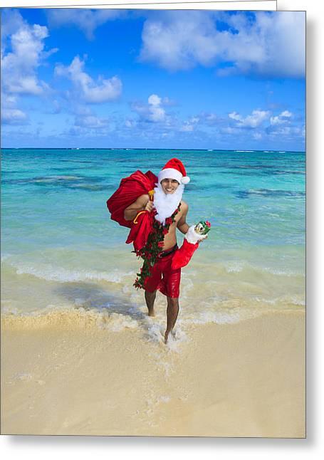 Delivering Presents Greeting Cards - Island Santa Greeting Card by Tomas del Amo