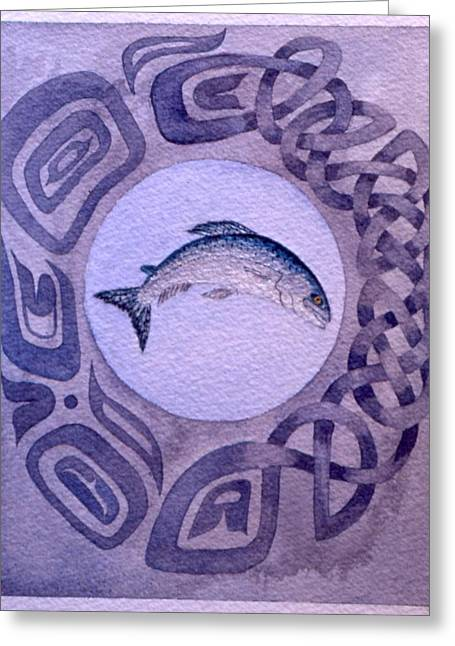 Salmon Paintings Greeting Cards - Island Spirit Greeting Card by Sandy Eastoak