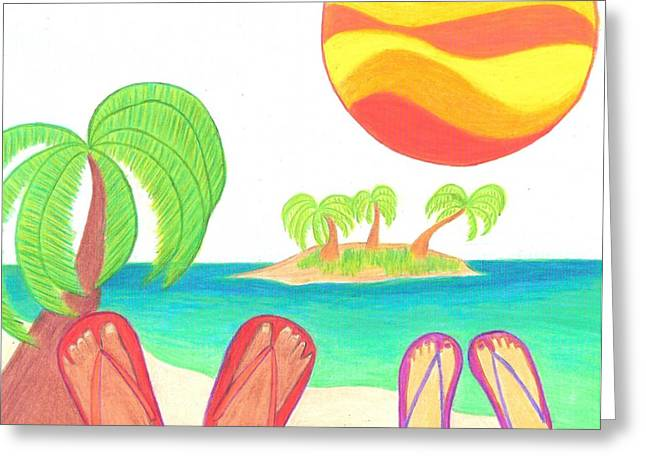Feet Greeting Cards - Island Watchers Greeting Card by Geree McDermott