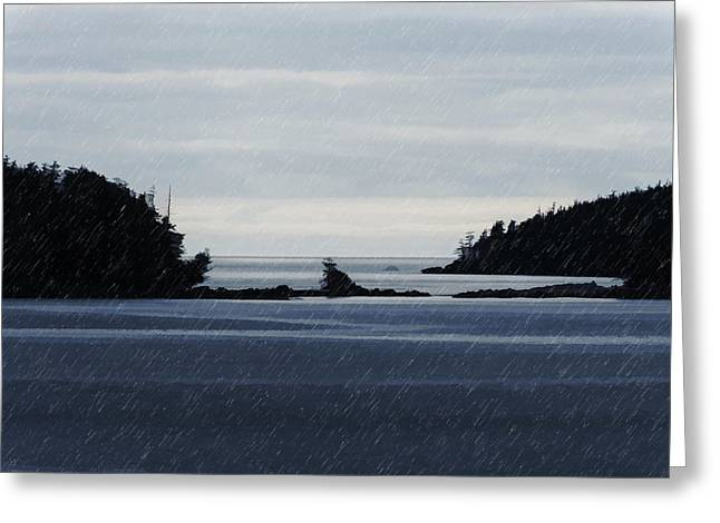 North Pyrography Greeting Cards - Islands in the Rain--BC North Coast Greeting Card by Evan Spellman