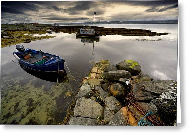 Islay, Scotland Two Boats Anchored By A Greeting Card by John Short