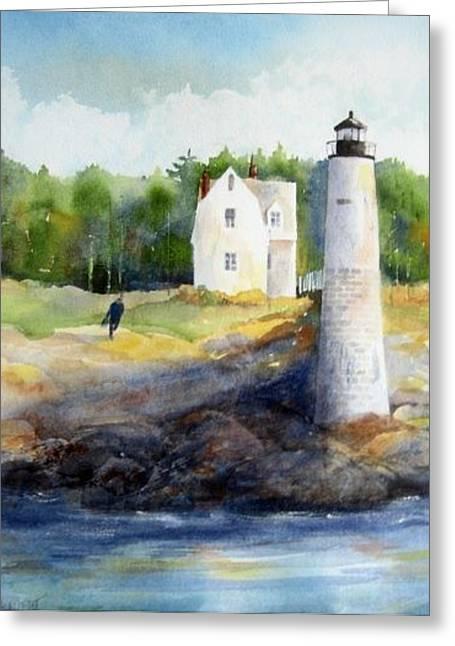 Haut Paintings Greeting Cards - Isle au Haut Light Greeting Card by Debra LePage