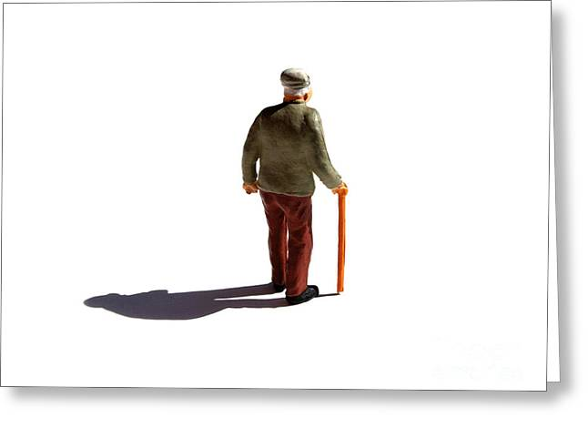 Citizens Photographs Greeting Cards - Isolated old man. Greeting Card by Bernard Jaubert