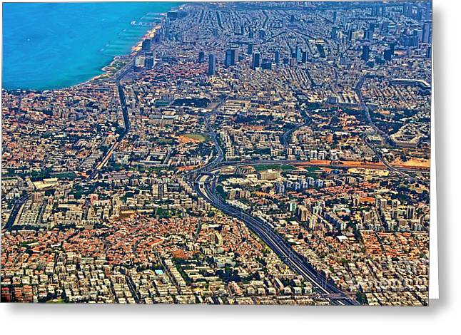 Yafo Greeting Cards - Israel From Above Greeting Card by Jenn Bodro