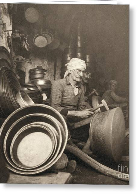 Metalwork Greeting Cards - Israel: Metal Workers, 1938 Greeting Card by Granger