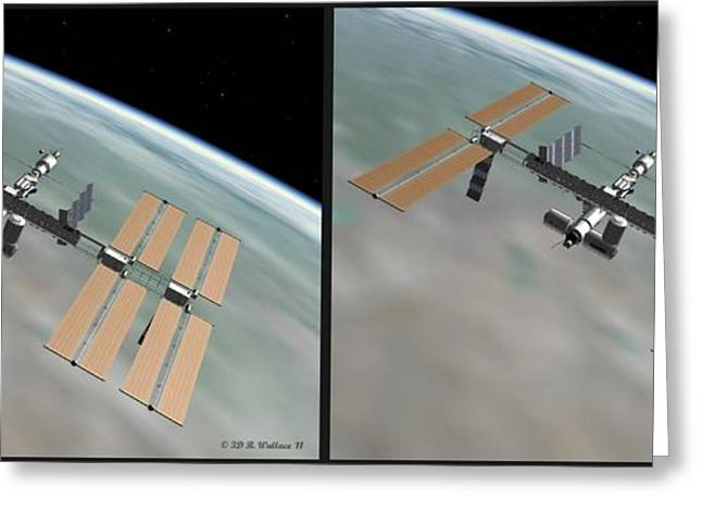 Outerspace Greeting Cards - ISS - Gently cross your eyes and focus on the middle image Greeting Card by Brian Wallace