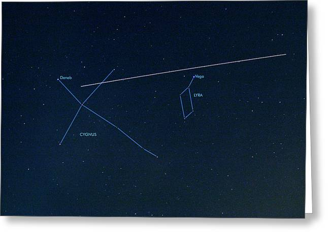 Iss Light Trail And Constellations Greeting Card by Detlev Van Ravenswaay