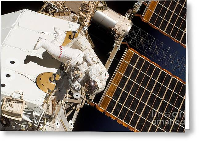 Iss Greeting Cards - Iss Maintenance Greeting Card by Nasa