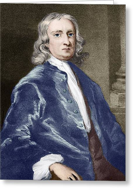 British Portraits Greeting Cards - Issac Newton, English Physicist Greeting Card by Sheila Terry