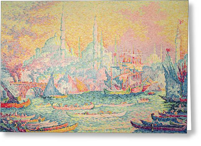 Neo-impressionist; Pointillist; Landscape; Hagia; Byzantine Architecture; Rowing Boat; Minaret; Constantinople Greeting Cards - Istanbul Greeting Card by Paul Signac