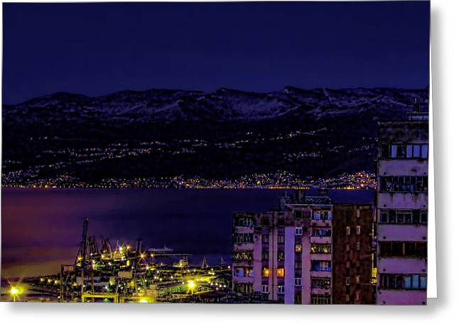 Mediterranean Landscape Greeting Cards - Istrian Riviera at night Greeting Card by Jasna Buncic