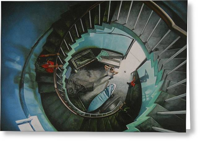 Spiral Staircase Paintings Greeting Cards - It all starts here Greeting Card by Caren Bestbier