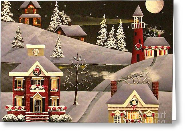 Christmas Art Greeting Cards - It Came Upon a Midnight Clear Greeting Card by Catherine Holman
