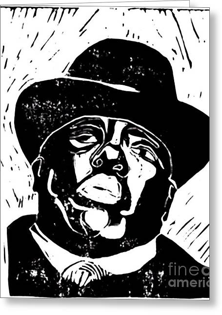 Recently Sold -  - Linocut Paintings Greeting Cards - It Was All A Dream Greeting Card by Valencia Dantzler