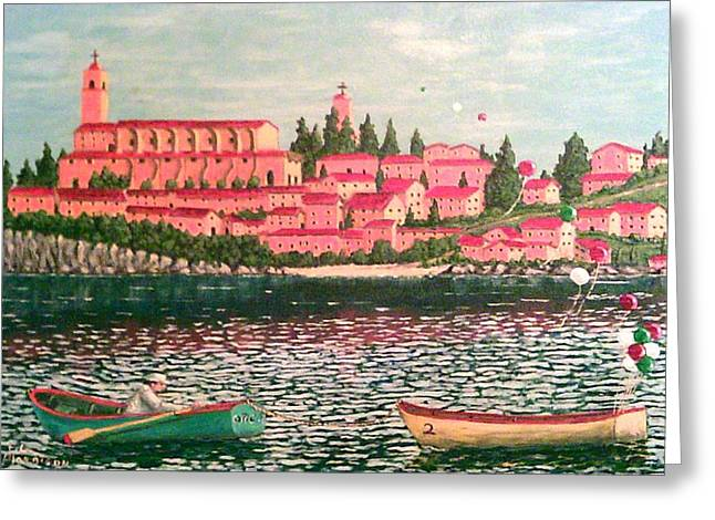 Boats In Water Mixed Media Greeting Cards - Italia Greeting Card by Frank Morrison