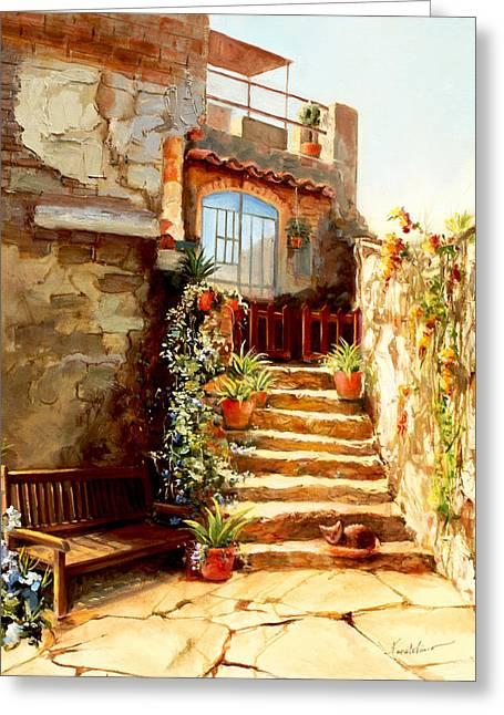 Italian Courtyard Tuscany Greeting Card by Larisa Napoletano
