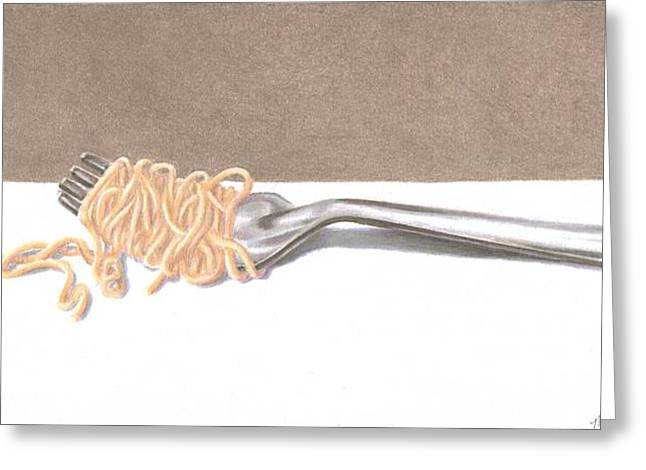 Spaghetti Drawings Greeting Cards - Italian Dinner Set 2 of 2 Greeting Card by Mandy Robertson