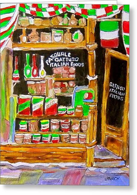 Michael Litvack Greeting Cards - Italian Food Store Greeting Card by Michael Litvack