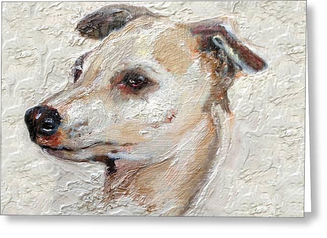 Greyhound Dog Paintings Greeting Cards - Italian Greyhound Greeting Card by Enzie Shahmiri
