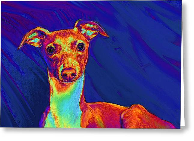Puppies Digital Art Greeting Cards - Italian Greyhound  Greeting Card by Jane Schnetlage