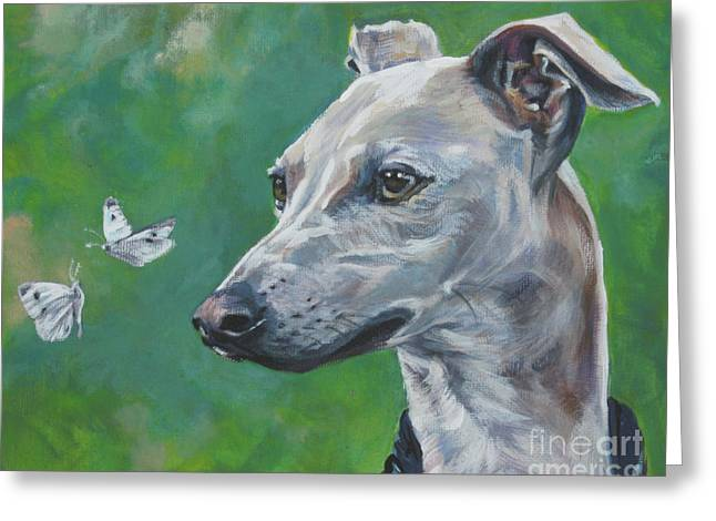Italian Greyhound Greeting Cards - Italian Greyhound with cabbage white butterflies Greeting Card by Lee Ann Shepard