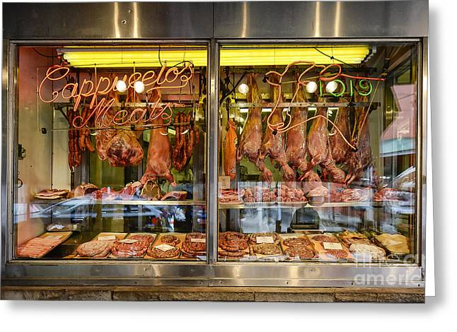 Italian Market Butcher Shop Greeting Card by John Greim