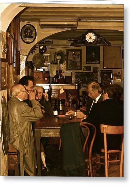 Femina Photo Art Greeting Cards - Italian Men at the Club Greeting Card by Maggie Vlazny