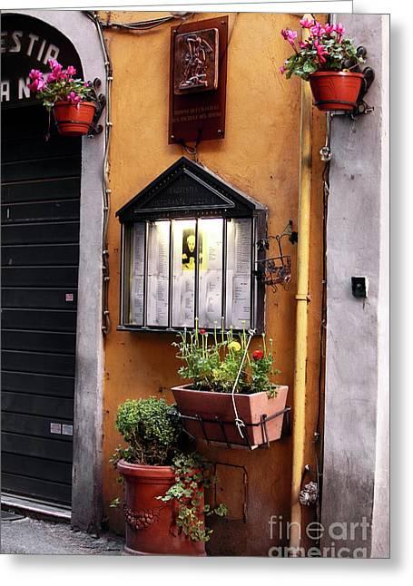 Menu Greeting Cards - Italian Menu Greeting Card by John Rizzuto