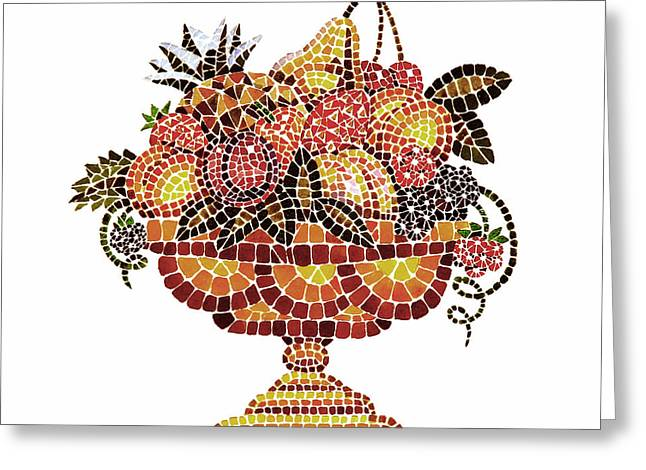 Apricots Paintings Greeting Cards - Italian Mosaic Vase With Fruits Greeting Card by Irina Sztukowski