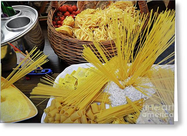 Italian Restaurant Greeting Cards - Italian pastas at restaurant window display Greeting Card by Sami Sarkis